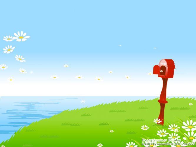 大海沙�╋L景桌面壁� 精�x夏日清�鏊{天大海沙�└咔屣L景��X桌面壁�下�d(一)